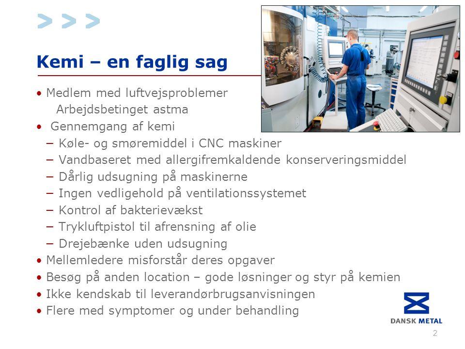 Kemi – en faglig sag • Medlem med luftvejsproblemer Arbejdsbetinget astma •Gennemgang af kemi − Køle- og smøremiddel i CNC maskiner − Vandbaseret med allergifremkaldende konserveringsmiddel − Dårlig udsugning på maskinerne − Ingen vedligehold på ventilationssystemet − Kontrol af bakterievækst − Trykluftpistol til afrensning af olie − Drejebænke uden udsugning • Mellemledere misforstår deres opgaver • Besøg på anden location – gode løsninger og styr på kemien • Ikke kendskab til leverandørbrugsanvisningen • Flere med symptomer og under behandling 2