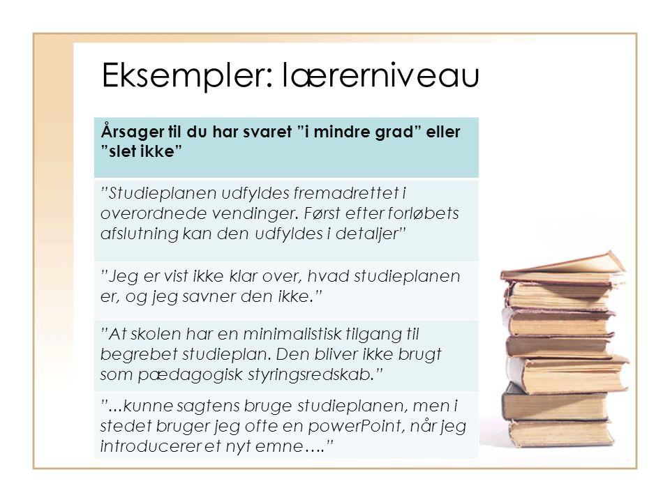 Eksempler: lærerniveau Årsager til du har svaret i mindre grad eller slet ikke Studieplanen udfyldes fremadrettet i overordnede vendinger.
