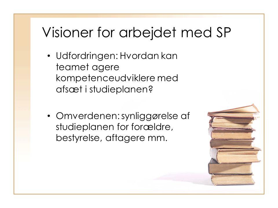 Visioner for arbejdet med SP • Udfordringen: Hvordan kan teamet agere kompetenceudviklere med afsæt i studieplanen.