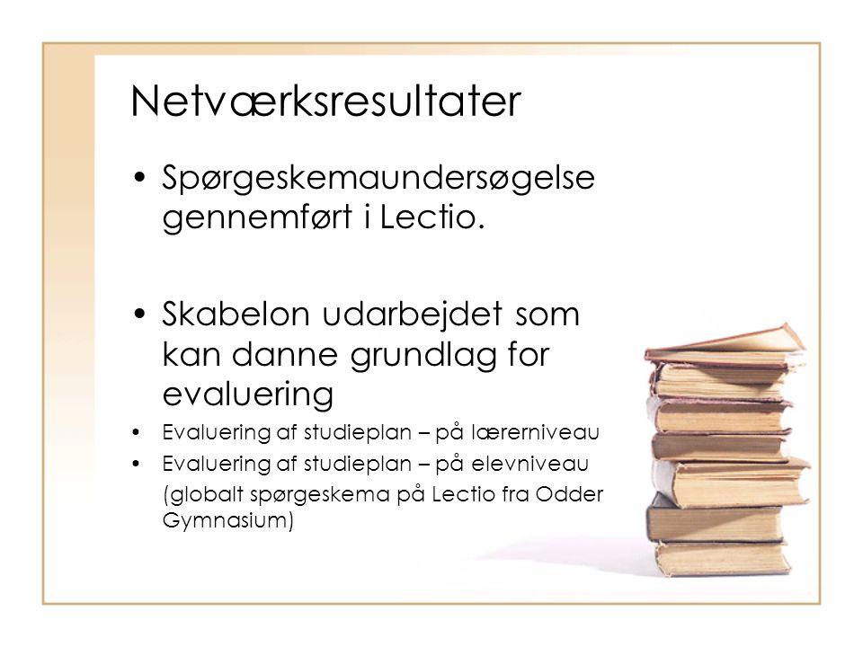 Netværksresultater •Spørgeskemaundersøgelse gennemført i Lectio.