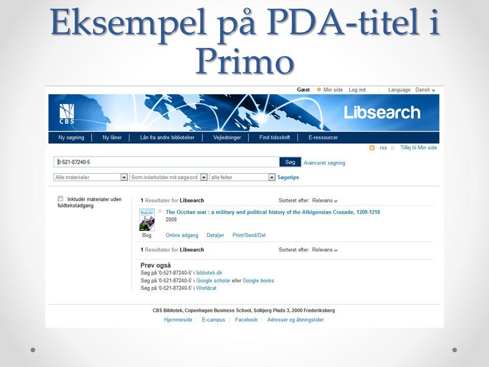 Eksempel på PDA-titel i Primo