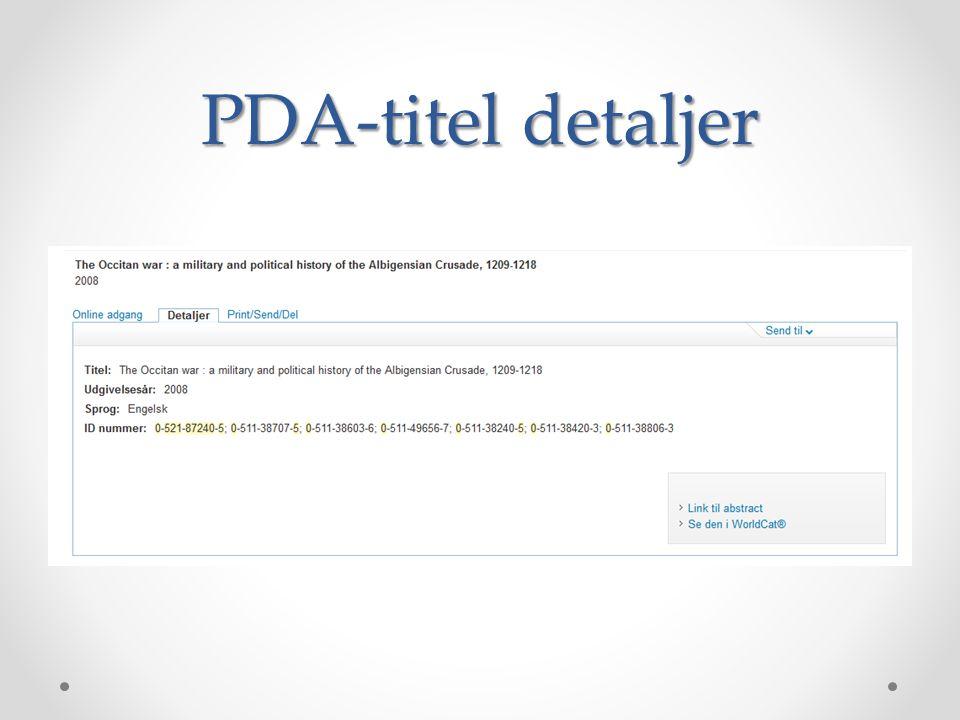 PDA-titel detaljer