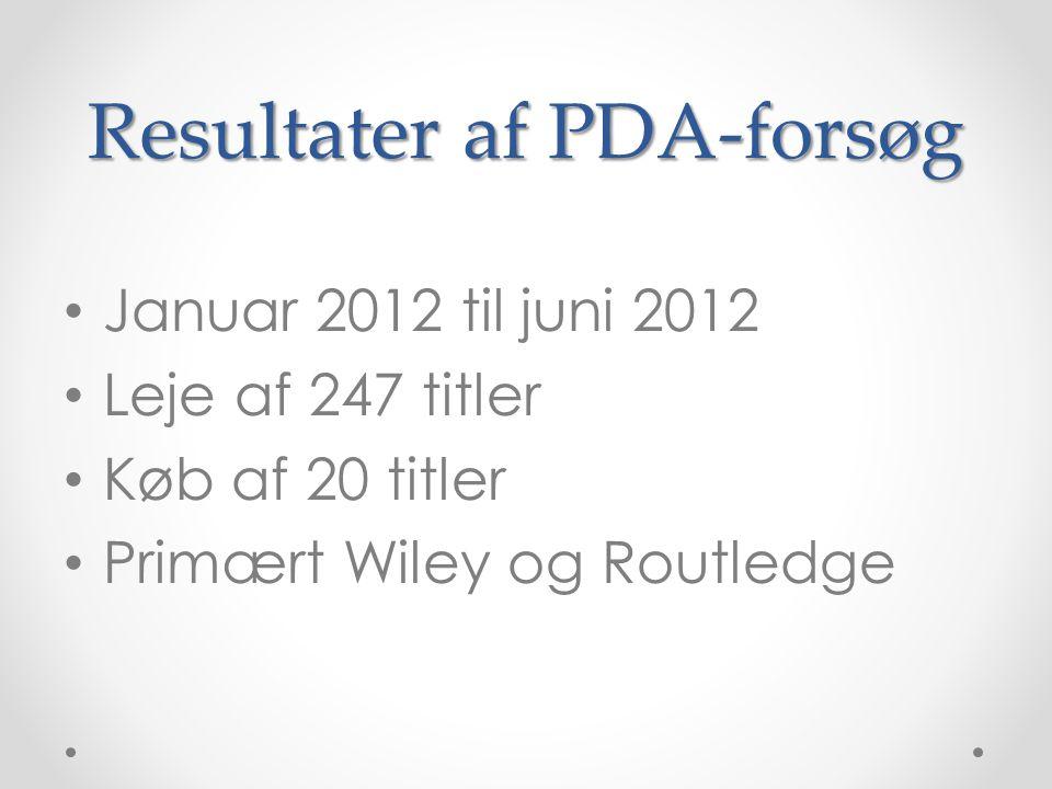 Resultater af PDA-forsøg • Januar 2012 til juni 2012 • Leje af 247 titler • Køb af 20 titler • Primært Wiley og Routledge