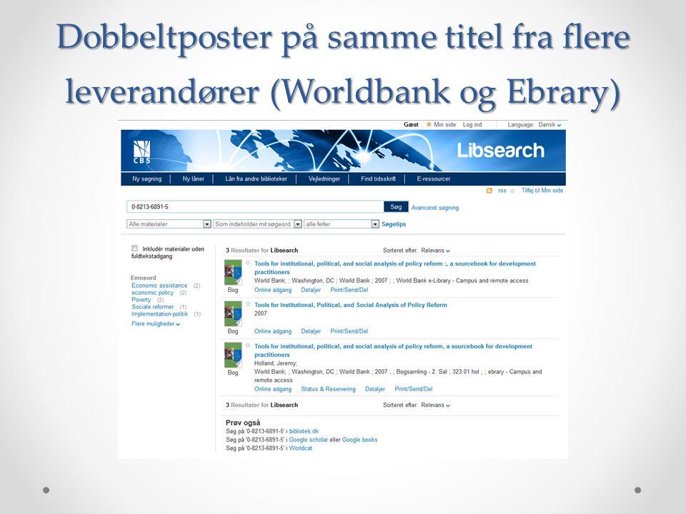 Dobbeltposter på samme titel fra flere leverandører (Worldbank og Ebrary)