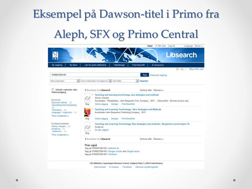 Eksempel på Dawson-titel i Primo fra Aleph, SFX og Primo Central