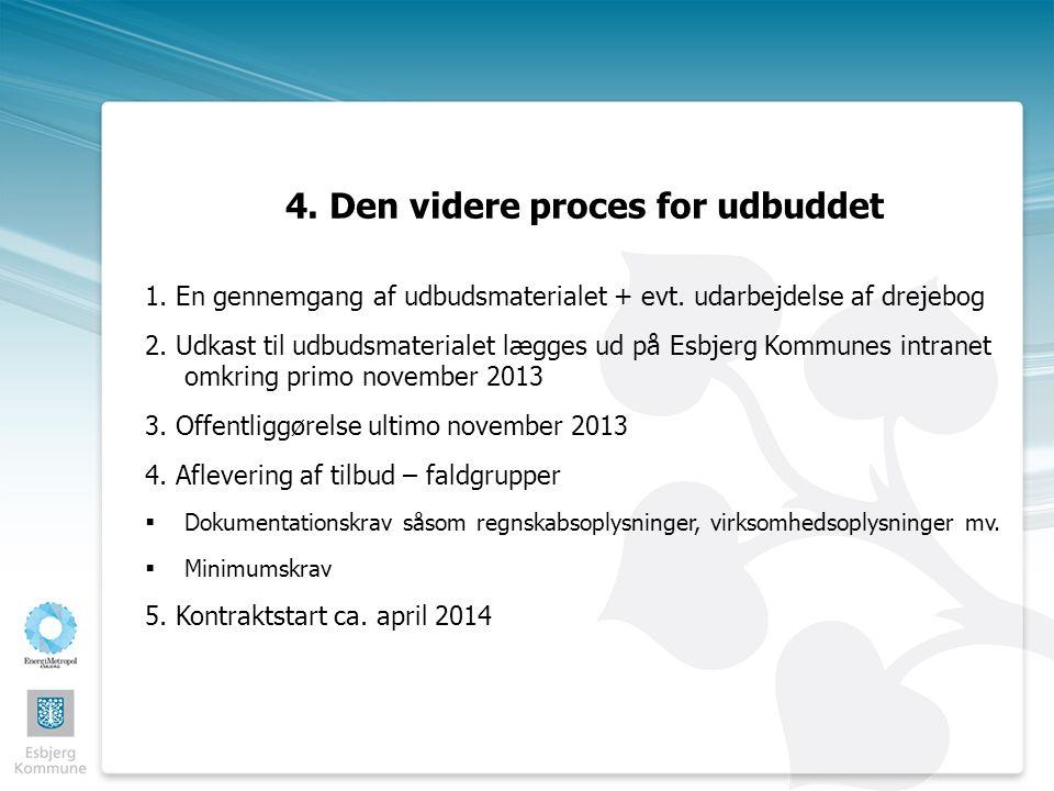 4. Den videre proces for udbuddet 1. En gennemgang af udbudsmaterialet + evt.