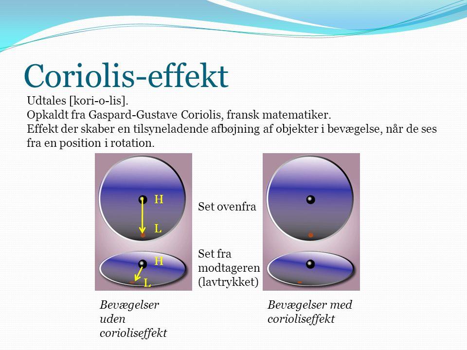 Coriolis-effekt H L L H Set ovenfra Set fra modtageren (lavtrykket) Bevægelser uden corioliseffekt Bevægelser med corioliseffekt Udtales [kori-o-lis].