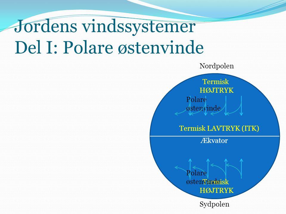 Jordens vindssystemer Del I: Polare østenvinde Ækvator Nordpolen Sydpolen Termisk LAVTRYK (ITK) Termisk HØJTRYK Termisk HØJTRYK Polare østenvinde