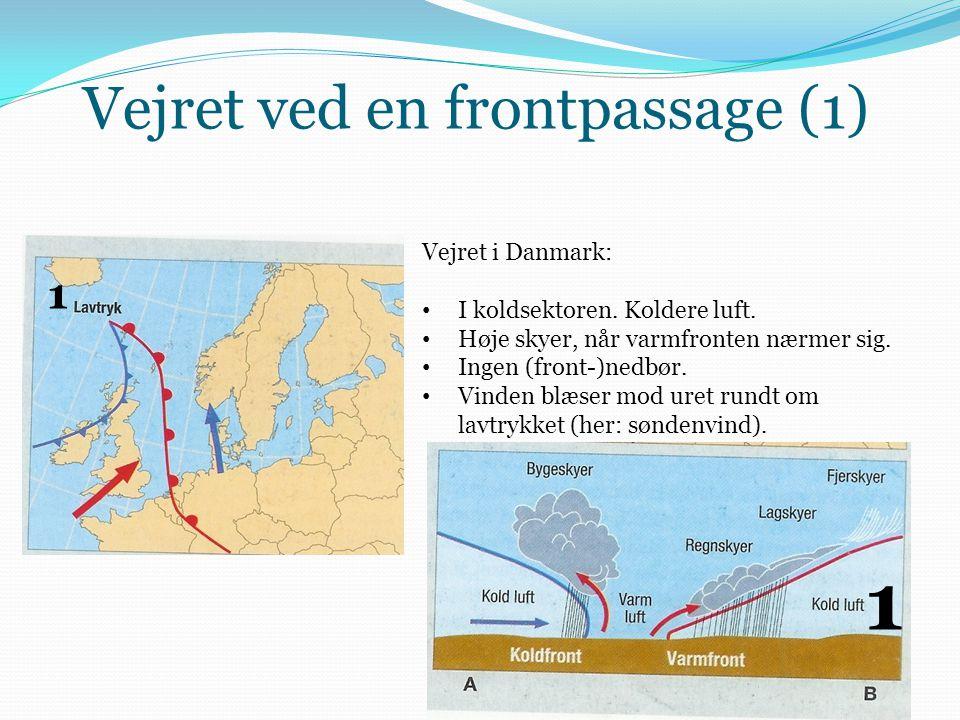 Vejret ved en frontpassage (1) Vejret i Danmark: • I koldsektoren. Koldere luft. • Høje skyer, når varmfronten nærmer sig. • Ingen (front-)nedbør. • V
