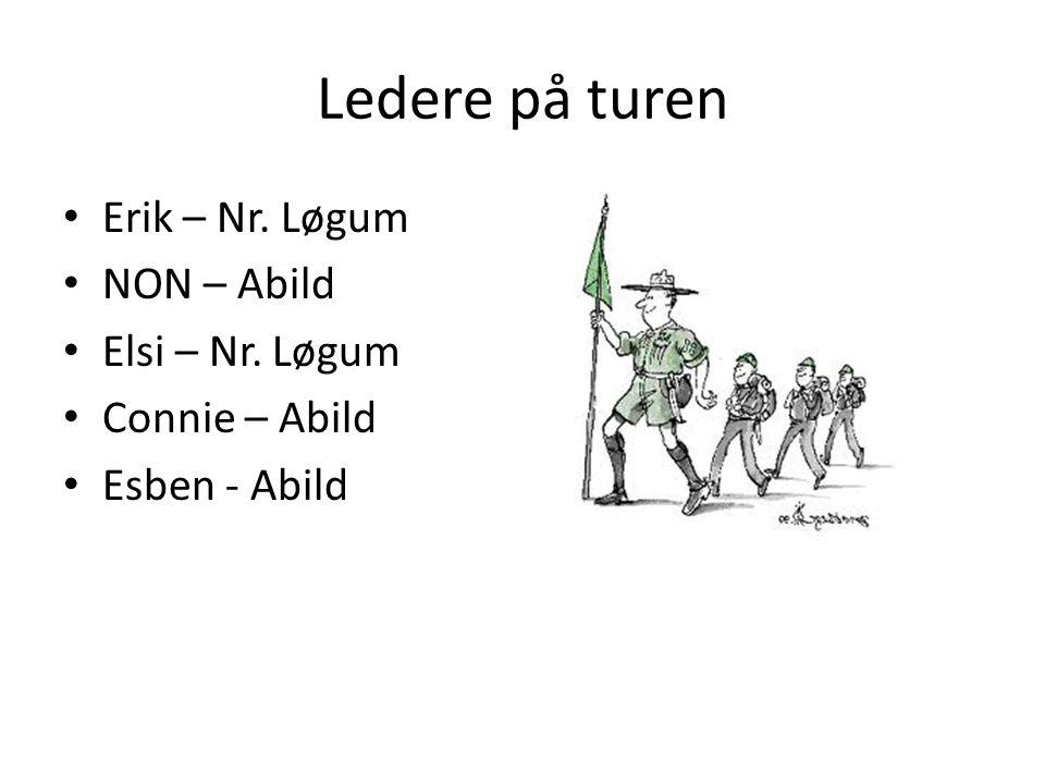 Ledere på turen • Erik – Nr. Løgum • NON – Abild • Elsi – Nr.