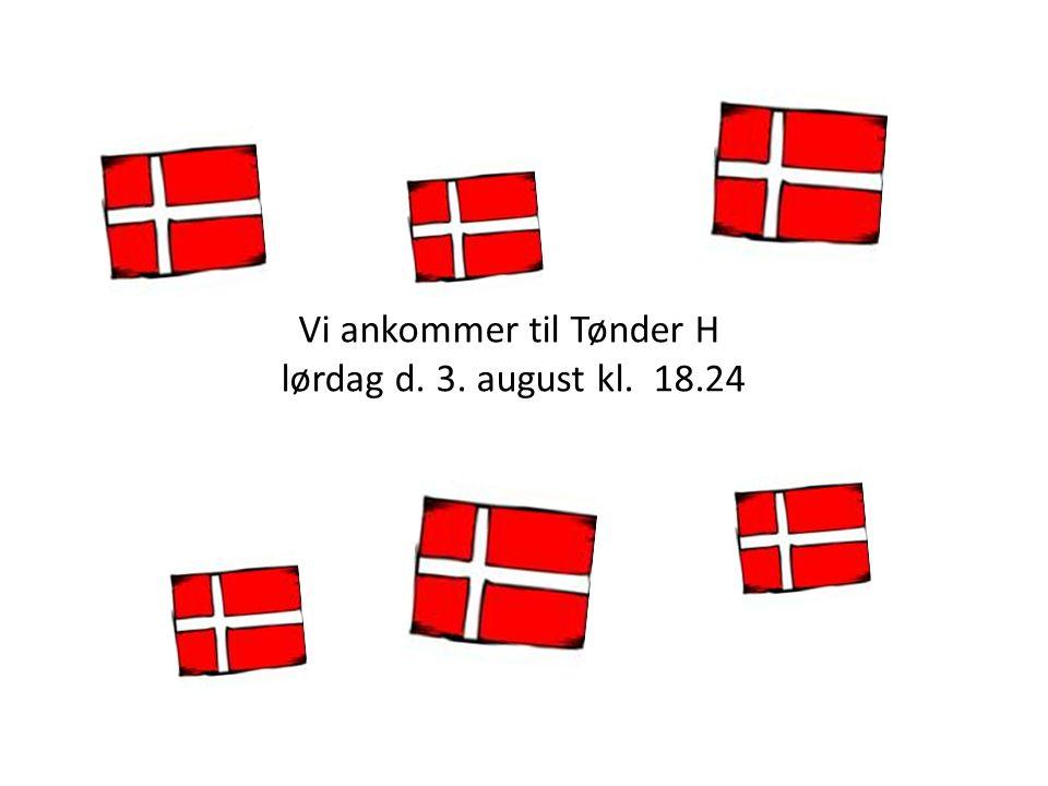 Vi ankommer til Tønder H lørdag d. 3. august kl. 18.24