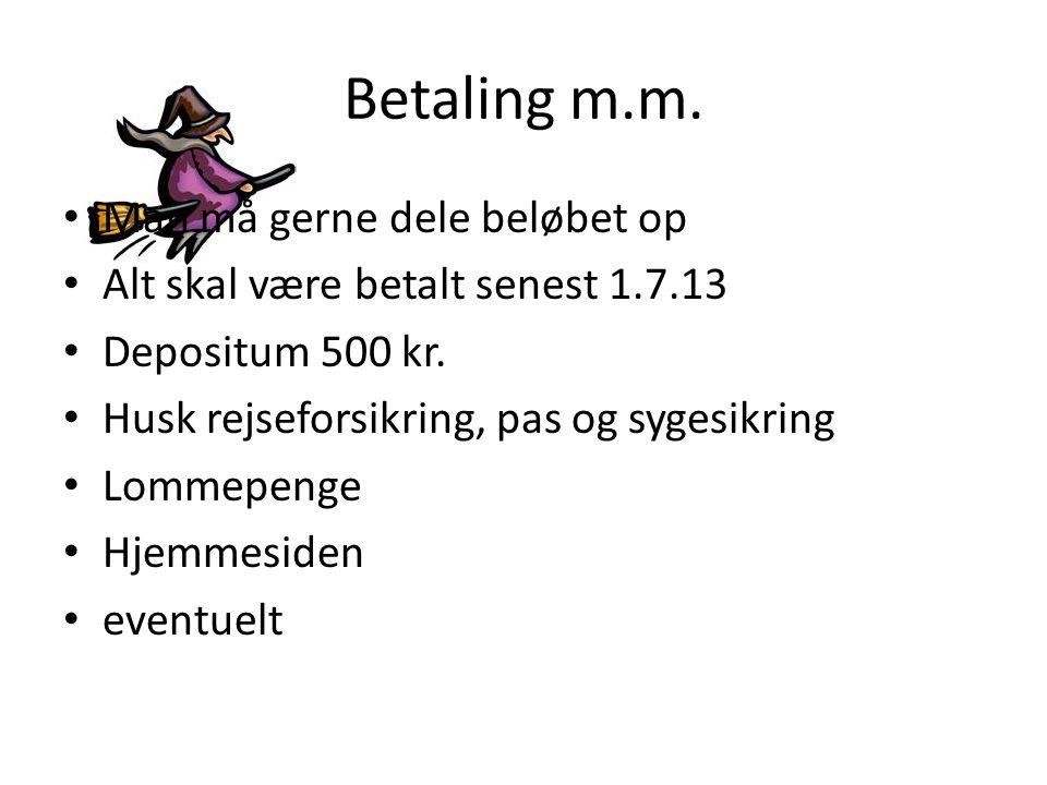 Betaling m.m.