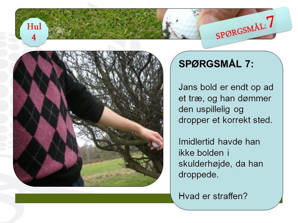 SPØRGSMÅL 7: Jans bold er endt op ad et træ, og han dømmer den uspillelig og dropper et korrekt sted.
