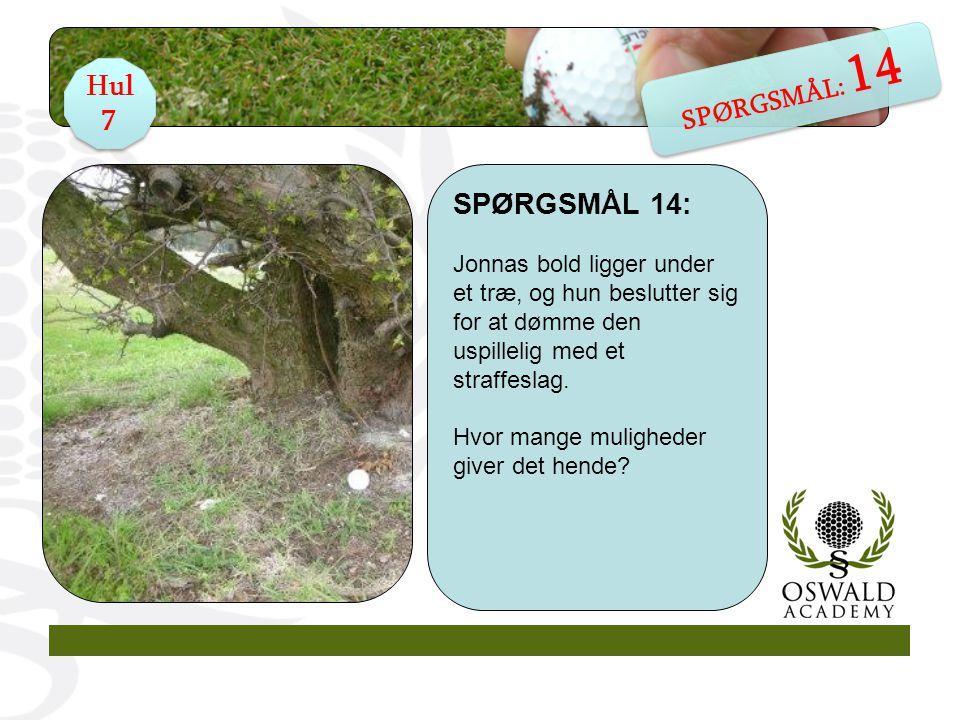 SPØRGSMÅL 14: Jonnas bold ligger under et træ, og hun beslutter sig for at dømme den uspillelig med et straffeslag.