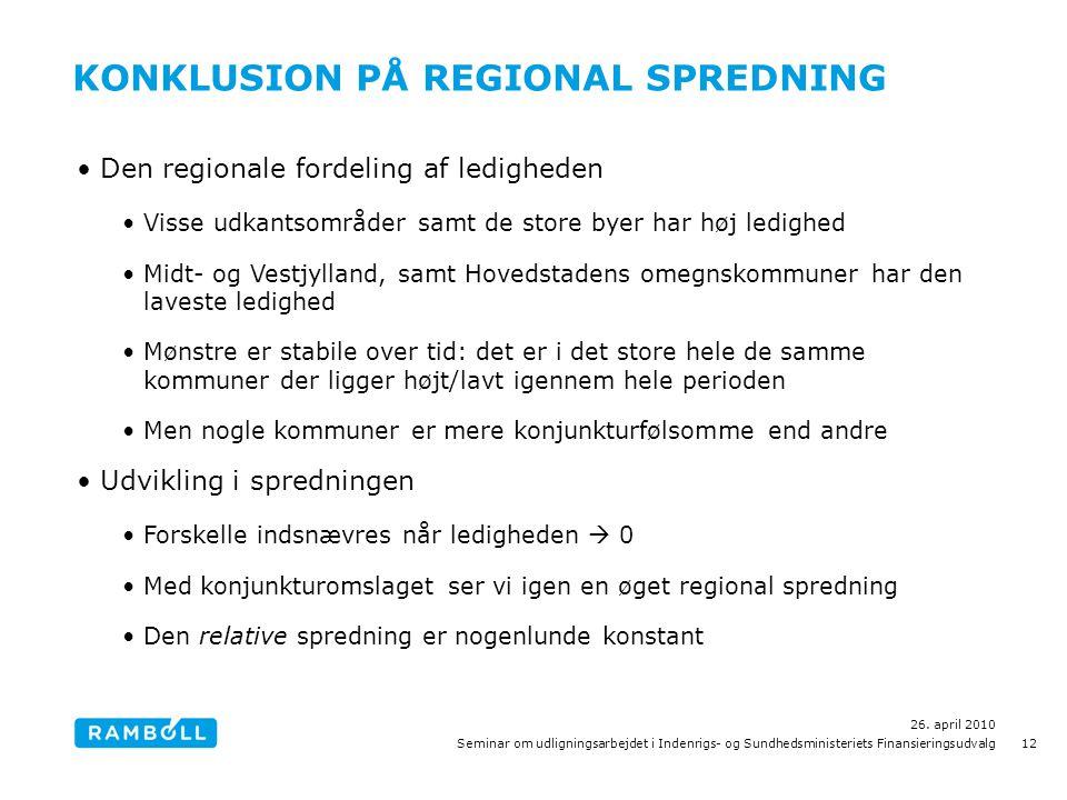 KONKLUSION PÅ REGIONAL SPREDNING •Den regionale fordeling af ledigheden •Visse udkantsområder samt de store byer har høj ledighed •Midt- og Vestjylland, samt Hovedstadens omegnskommuner har den laveste ledighed •Mønstre er stabile over tid: det er i det store hele de samme kommuner der ligger højt/lavt igennem hele perioden •Men nogle kommuner er mere konjunkturfølsomme end andre •Udvikling i spredningen •Forskelle indsnævres når ledigheden  0 •Med konjunkturomslaget ser vi igen en øget regional spredning •Den relative spredning er nogenlunde konstant 26.