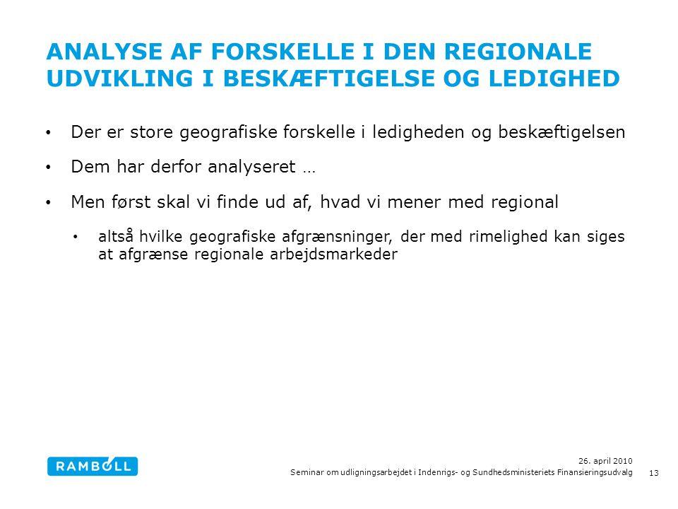 ANALYSE AF FORSKELLE I DEN REGIONALE UDVIKLING I BESKÆFTIGELSE OG LEDIGHED • Der er store geografiske forskelle i ledigheden og beskæftigelsen • Dem har derfor analyseret … • Men først skal vi finde ud af, hvad vi mener med regional • altså hvilke geografiske afgrænsninger, der med rimelighed kan siges at afgrænse regionale arbejdsmarkeder 26.