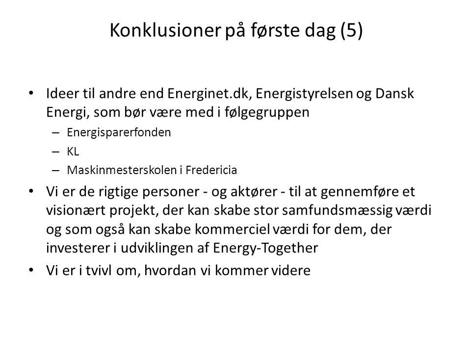 Konklusioner på første dag (5) • Ideer til andre end Energinet.dk, Energistyrelsen og Dansk Energi, som bør være med i følgegruppen – Energisparerfonden – KL – Maskinmesterskolen i Fredericia • Vi er de rigtige personer - og aktører - til at gennemføre et visionært projekt, der kan skabe stor samfundsmæssig værdi og som også kan skabe kommerciel værdi for dem, der investerer i udviklingen af Energy-Together • Vi er i tvivl om, hvordan vi kommer videre