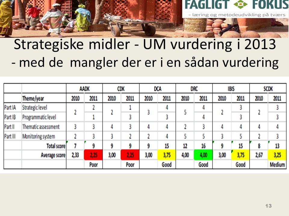 Strategiske midler - UM vurdering i 2013 - med de mangler der er i en sådan vurdering 13