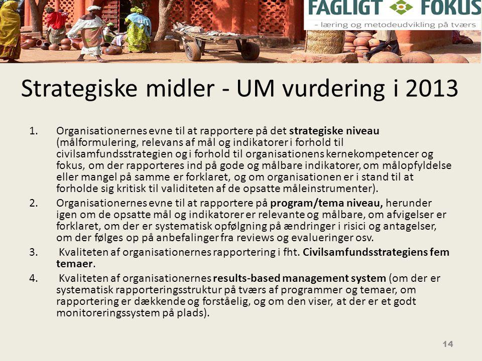 Strategiske midler - UM vurdering i 2013 1.Organisationernes evne til at rapportere på det strategiske niveau (målformulering, relevans af mål og indikatorer i forhold til civilsamfundsstrategien og i forhold til organisationens kernekompetencer og fokus, om der rapporteres ind på gode og målbare indikatorer, om målopfyldelse eller mangel på samme er forklaret, og om organisationen er i stand til at forholde sig kritisk til validiteten af de opsatte måleinstrumenter).