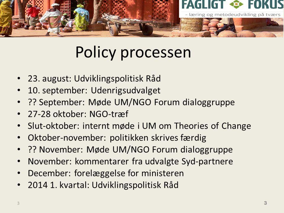 Policy processen • 23. august: Udviklingspolitisk Råd • 10.