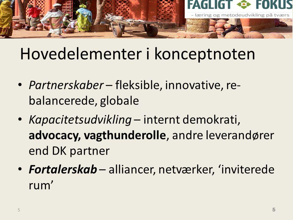 Hovedelementer i konceptnoten • Partnerskaber – fleksible, innovative, re- balancerede, globale • Kapacitetsudvikling – internt demokrati, advocacy, vagthunderolle, andre leverandører end DK partner • Fortalerskab – alliancer, netværker, 'inviterede rum' 5 5