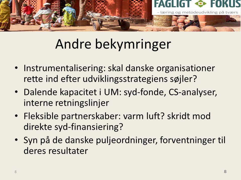 Andre bekymringer • Instrumentalisering: skal danske organisationer rette ind efter udviklingsstrategiens søjler.