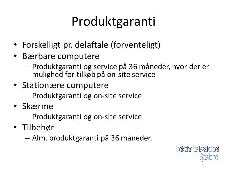Produktgaranti • Forskelligt pr.