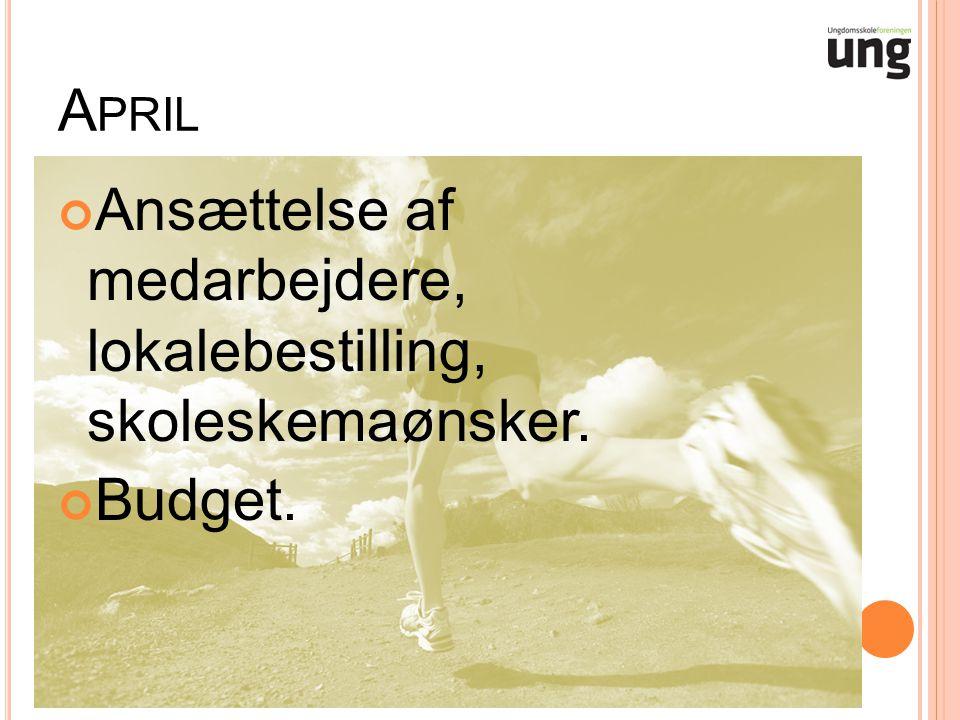 A PRIL Ansættelse af medarbejdere, lokalebestilling, skoleskemaønsker. Budget.