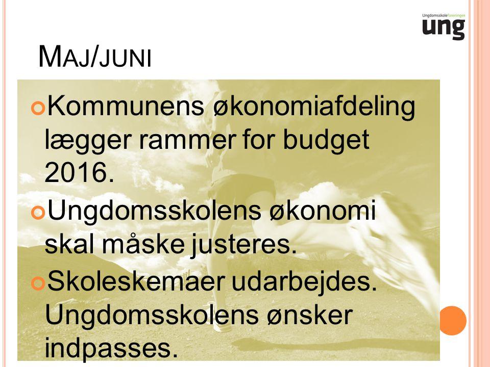 M AJ / JUNI Kommunens økonomiafdeling lægger rammer for budget 2016.