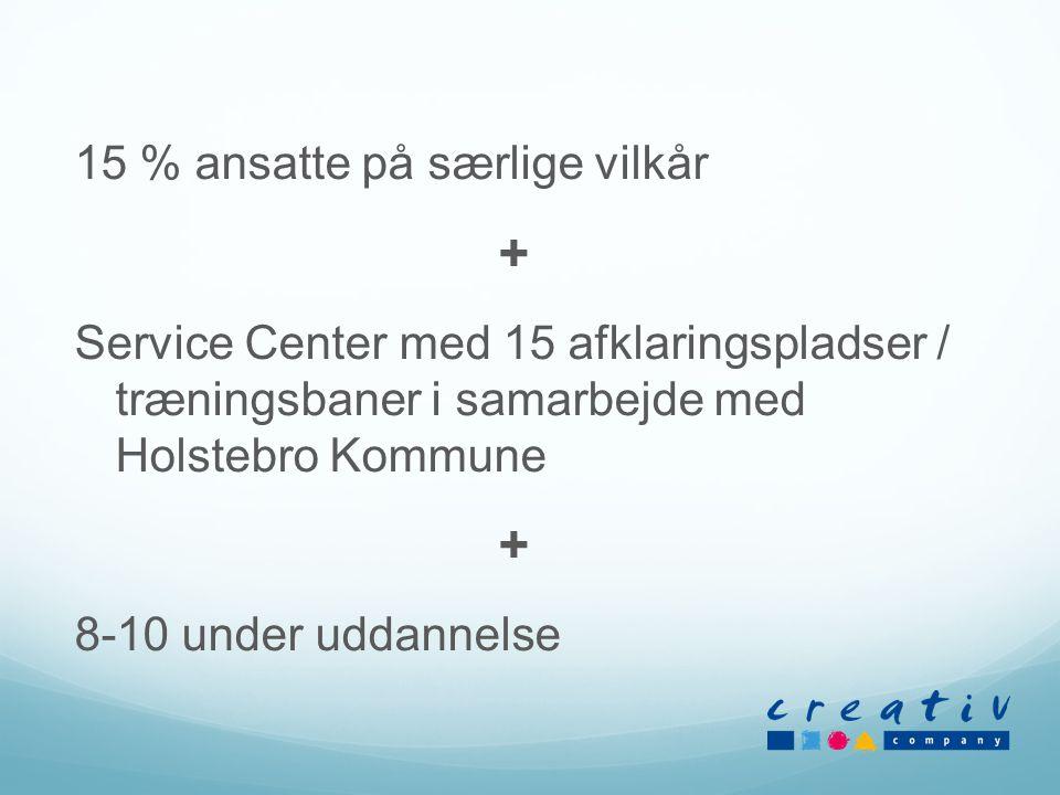 15 % ansatte på særlige vilkår + Service Center med 15 afklaringspladser / træningsbaner i samarbejde med Holstebro Kommune + 8-10 under uddannelse