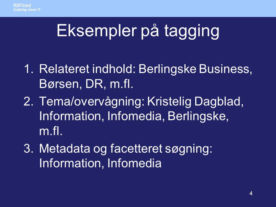 Eksempler på tagging 1.Relateret indhold: Berlingske Business, Børsen, DR, m.fl.