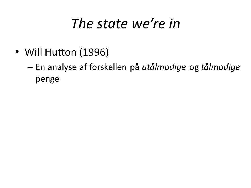 The state we're in • Will Hutton (1996) – En analyse af forskellen på utålmodige og tålmodige penge