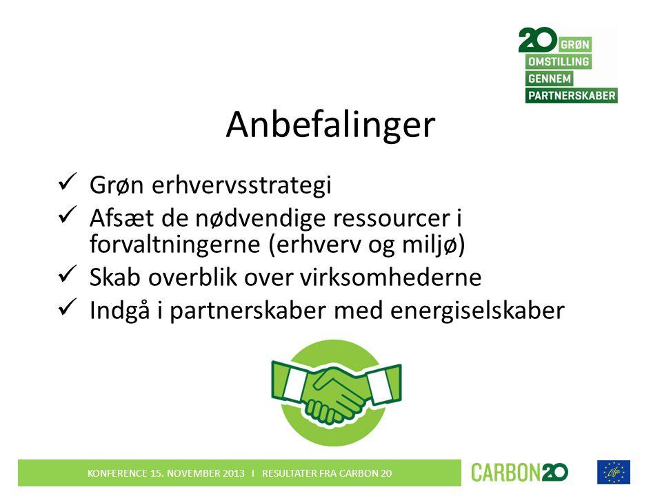 Anbefalinger  Grøn erhvervsstrategi  Afsæt de nødvendige ressourcer i forvaltningerne (erhverv og miljø)  Skab overblik over virksomhederne  Indgå i partnerskaber med energiselskaber KONFERENCE 15.