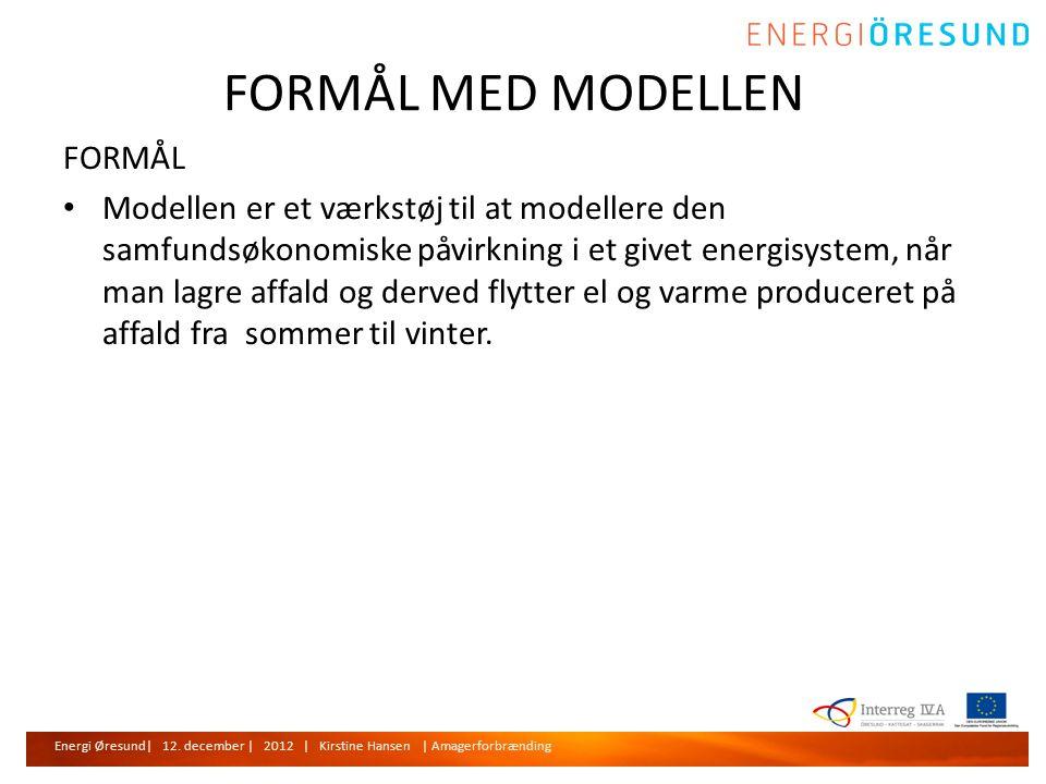 FORMÅL MED MODELLEN FORMÅL • Modellen er et værkstøj til at modellere den samfundsøkonomiske påvirkning i et givet energisystem, når man lagre affald og derved flytter el og varme produceret på affald fra sommer til vinter.