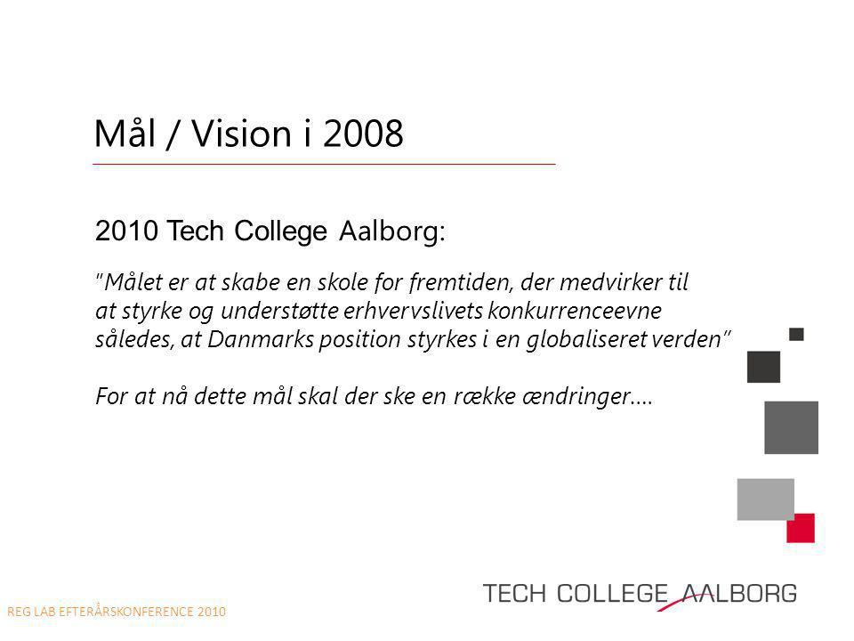 Mål / Vision i 2008 •2010 Tech College Aalborg: 2010 Tech College Aalborg: Målet er at skabe en skole for fremtiden, der medvirker til at styrke og understøtte erhvervslivets konkurrenceevne således, at Danmarks position styrkes i en globaliseret verden For at nå dette mål skal der ske en række ændringer….