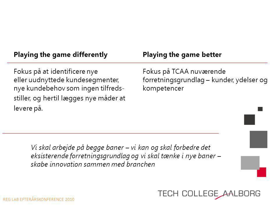 Playing the game differentlyPlaying the game better Fokus på at identificere nye Fokus på TCAA nuværende eller uudnyttede kundesegmenter,forretningsgrundlag – kunder, ydelser og nye kundebehov som ingen tilfreds-kompetencer stiller, og hertil lægges nye måder at levere på.