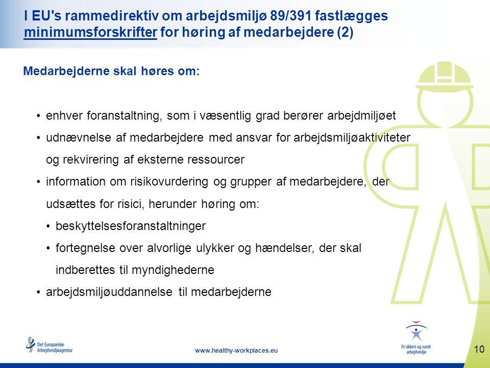 10 www.healthy-workplaces.eu I EU s rammedirektiv om arbejdsmiljø 89/391 fastlægges minimumsforskrifter for høring af medarbejdere (2) Medarbejderne skal høres om: •enhver foranstaltning, som i væsentlig grad berører arbejdmiljøet •udnævnelse af medarbejdere med ansvar for arbejdsmiljøaktiviteter og rekvirering af eksterne ressourcer •information om risikovurdering og grupper af medarbejdere, der udsættes for risici, herunder høring om: •beskyttelsesforanstaltninger •fortegnelse over alvorlige ulykker og hændelser, der skal indberettes til myndighederne •arbejdsmiljøuddannelse til medarbejderne