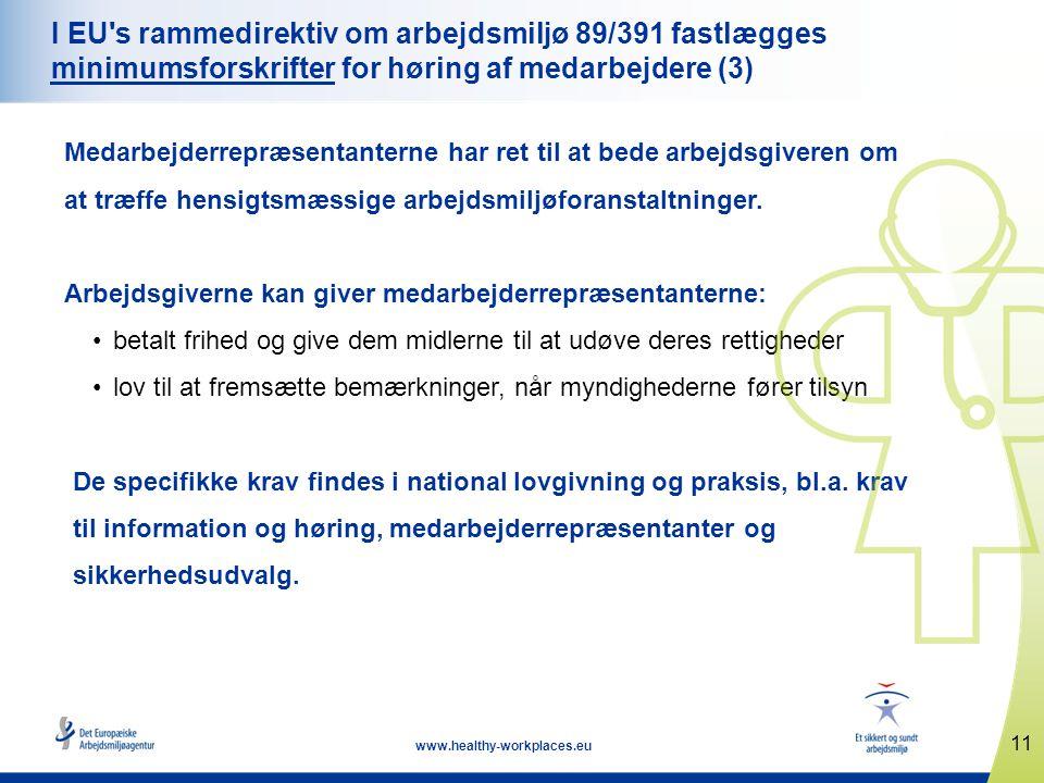 11 www.healthy-workplaces.eu I EU s rammedirektiv om arbejdsmiljø 89/391 fastlægges minimumsforskrifter for høring af medarbejdere (3) Medarbejderrepræsentanterne har ret til at bede arbejdsgiveren om at træffe hensigtsmæssige arbejdsmiljøforanstaltninger.