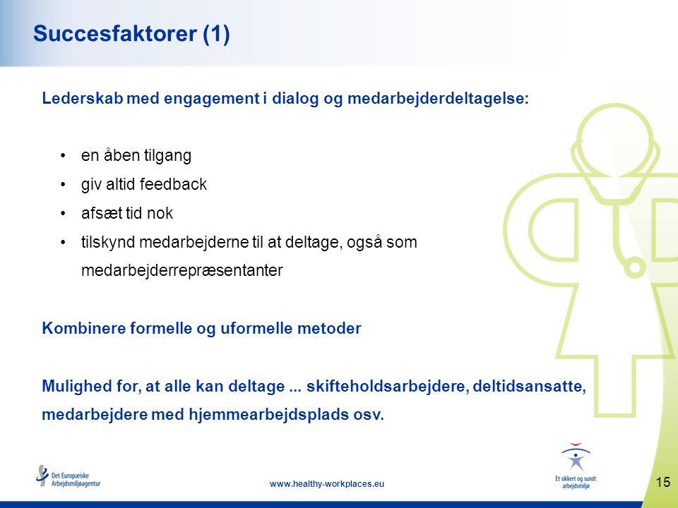 15 www.healthy-workplaces.eu Succesfaktorer (1) Lederskab med engagement i dialog og medarbejderdeltagelse: •en åben tilgang •giv altid feedback •afsæt tid nok •tilskynd medarbejderne til at deltage, også som medarbejderrepræsentanter Kombinere formelle og uformelle metoder Mulighed for, at alle kan deltage...