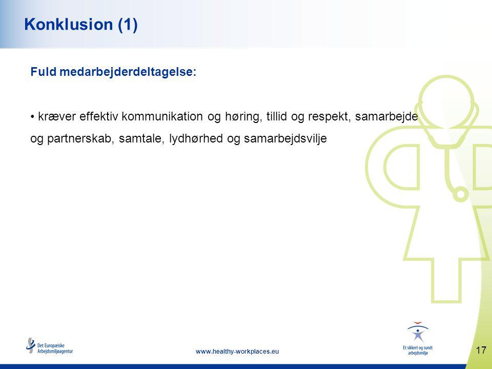 17 www.healthy-workplaces.eu Konklusion (1) Fuld medarbejderdeltagelse: • kræver effektiv kommunikation og høring, tillid og respekt, samarbejde og partnerskab, samtale, lydhørhed og samarbejdsvilje