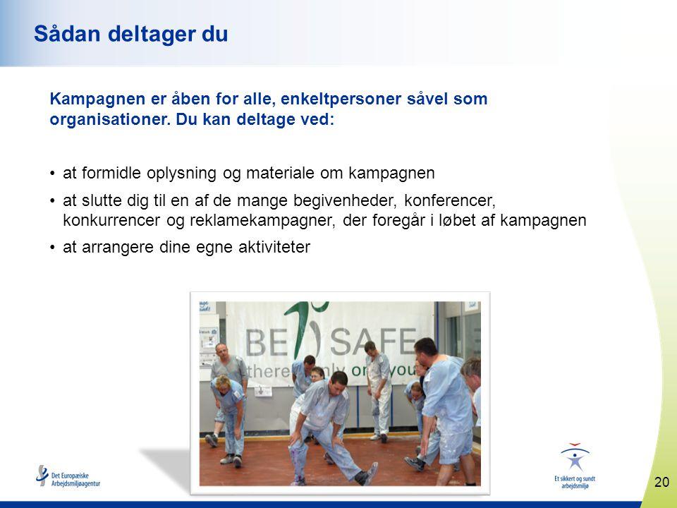 www.healthy-workplaces.eu Kampagnen er åben for alle, enkeltpersoner såvel som organisationer.