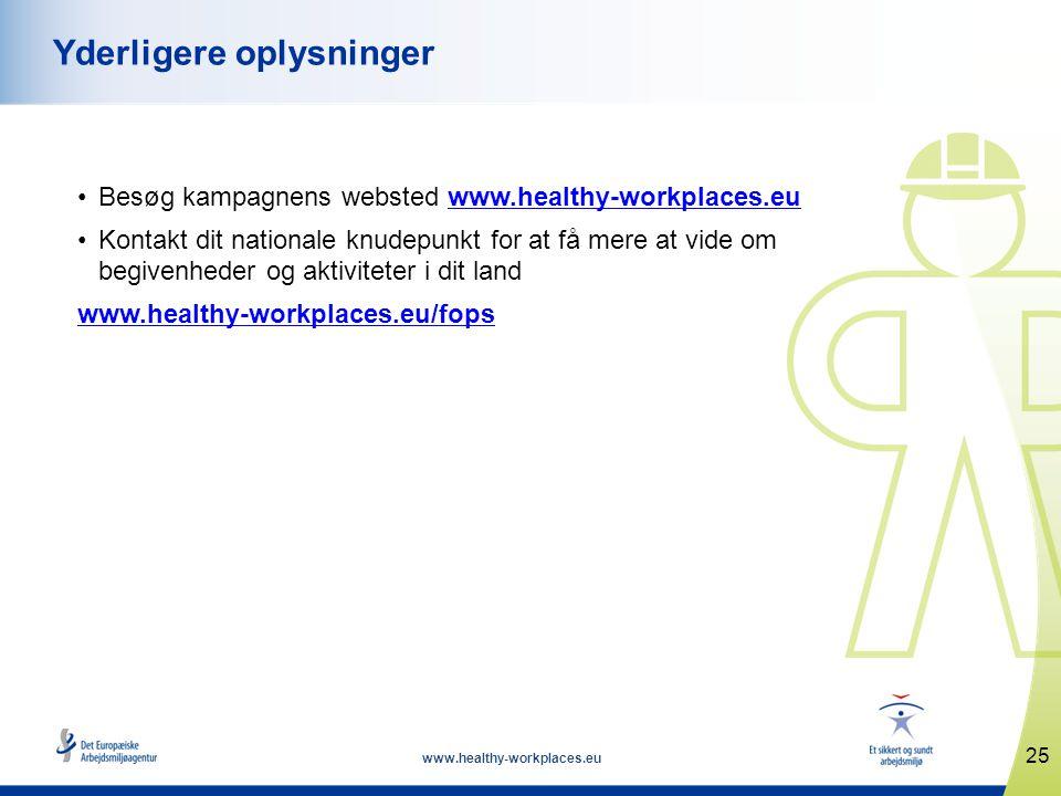 www.healthy-workplaces.eu •Besøg kampagnens websted www.healthy-workplaces.euwww.healthy-workplaces.eu •Kontakt dit nationale knudepunkt for at få mere at vide om begivenheder og aktiviteter i dit land www.healthy-workplaces.eu/fops 25 Yderligere oplysninger