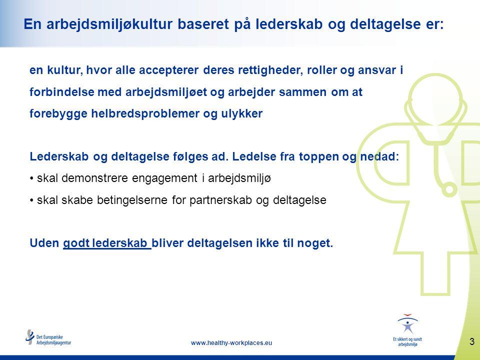 3 www.healthy-workplaces.eu En arbejdsmiljøkultur baseret på lederskab og deltagelse er: en kultur, hvor alle accepterer deres rettigheder, roller og ansvar i forbindelse med arbejdsmiljøet og arbejder sammen om at forebygge helbredsproblemer og ulykker Lederskab og deltagelse følges ad.