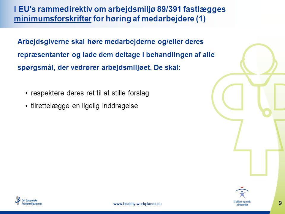 9 www.healthy-workplaces.eu I EU s rammedirektiv om arbejdsmiljø 89/391 fastlægges minimumsforskrifter for høring af medarbejdere (1) Arbejdsgiverne skal høre medarbejderne og/eller deres repræsentanter og lade dem deltage i behandlingen af alle spørgsmål, der vedrører arbejdsmiljøet.