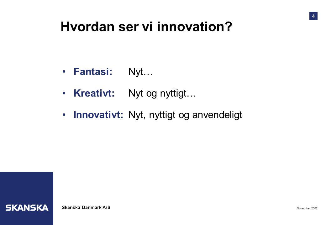 4 November 2002 Skanska Danmark A/S Hvordan ser vi innovation.