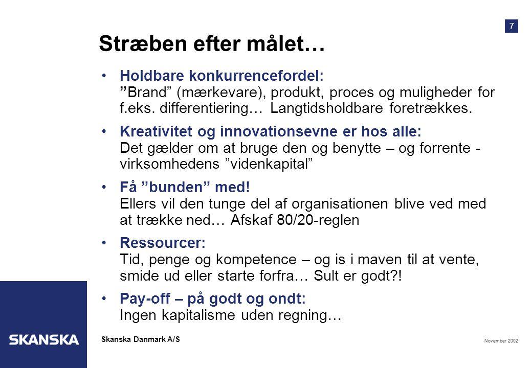 7 November 2002 Skanska Danmark A/S Stræben efter målet… •Holdbare konkurrencefordel: Brand (mærkevare), produkt, proces og muligheder for f.eks.
