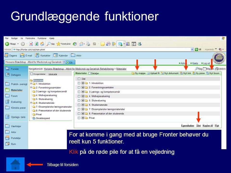 Grundlæggende funktioner For at komme i gang med at bruge Fronter behøver du reelt kun 5 funktioner.