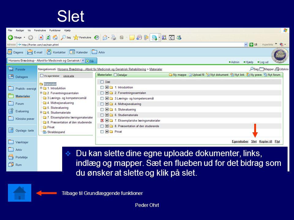 Peder Ohrt Slet  Du kan slette dine egne uploade dokumenter, links, indlæg og mapper.