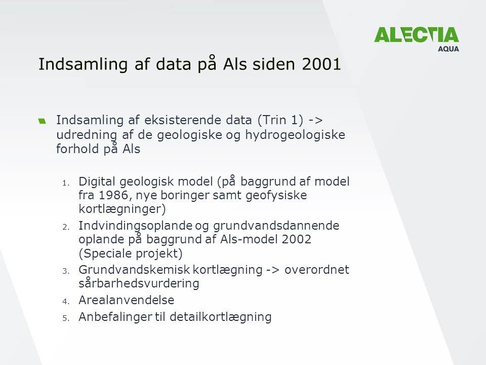 Indsamling af data på Als siden 2001 Indsamling af eksisterende data (Trin 1) -> udredning af de geologiske og hydrogeologiske forhold på Als 1.