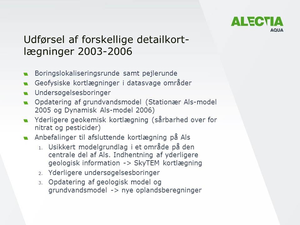 Udførsel af forskellige detailkort- lægninger 2003-2006 Boringslokaliseringsrunde samt pejlerunde Geofysiske kortlægninger i datasvage områder Undersøgelsesboringer Opdatering af grundvandsmodel (Stationær Als-model 2005 og Dynamisk Als-model 2006) Yderligere geokemisk kortlægning (sårbarhed over for nitrat og pesticider) Anbefalinger til afsluttende kortlægning på Als 1.